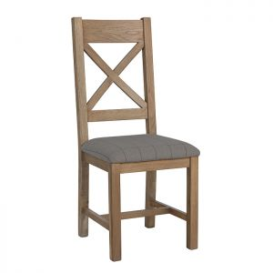 Montgomery Oak Cross Back Dining Chair – Grey Check