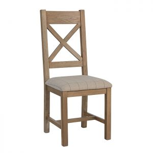Montgomery Oak Cross Back Dining Chair – Natural Check
