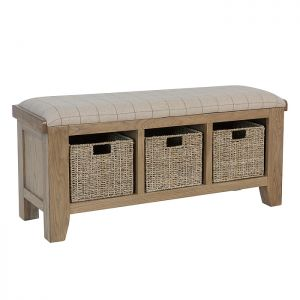 Montgomery Oak Cushioned Hallway Bench