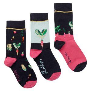 Joules Women's Brill Bamboo Socks, Pack of 3 – Navy Vegetables