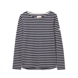 Joules Harbour Long Sleeve Jersey Top - Navy & Cream Stripe