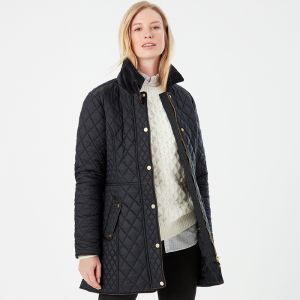 Joules Women's Newdale Longline Quilted Coat – Black