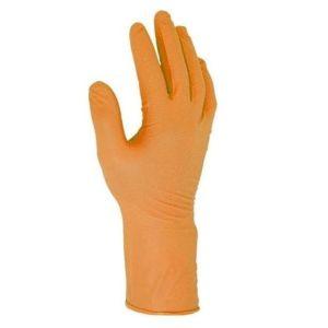 Warrior Orange Nitrile Grip Disposable Gloves - Pack of 50