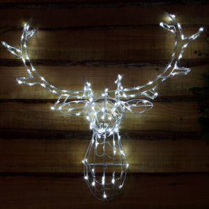 NOMA 85cm Wire Frame Stag Head LED Light Figure – White