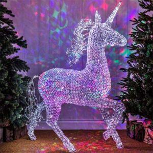 NOMA LED Northern Lights Jewelled Unicorn Figure – 1.6m