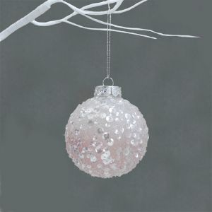 Ombre Frosted Bauble, 8cm - Blush