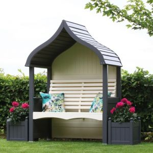AFK Orchard Painted Arbour - Charcoal & Cream
