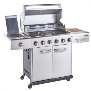 Outback Jupiter 6 Burner Hybrid Stainless Steel Barbecue with Free Regulator