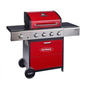 Outback Meteor 4 Gas Barbecue with Free Regulator - Red