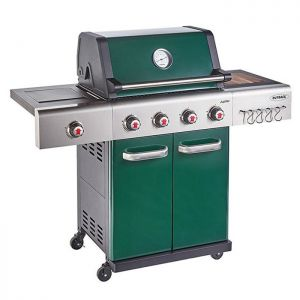 Outback Jupiter 4 Burner Hybrid Barbecue with Free Propane Regulator - Green