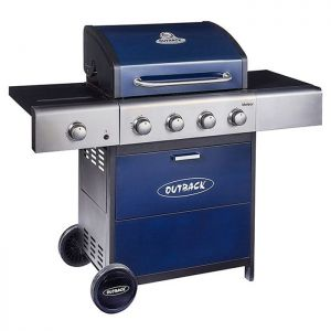 Outback Meteor 4 Burner Gas Barbecue with Free Regulator – Blue