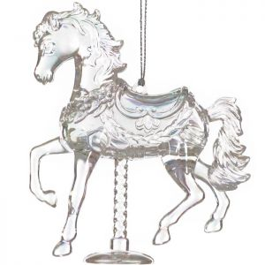 Festive Hanging Carousel Horse Decoration - Iridescent