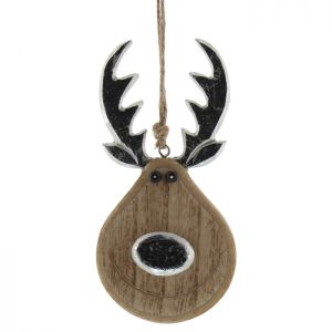 Festive Hanging Wooden Reindeer With Silver Nose Decoration