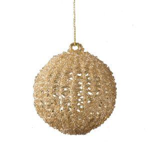Festive Spun Glass Bauble - Gold
