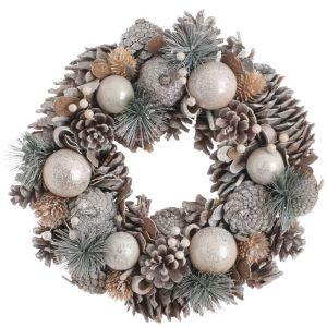 Festive Pinecone and Bristle Wreath - 30cm