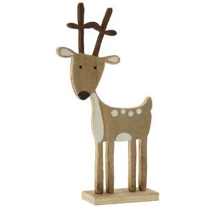 Festive Brown Wooden Reindeer Decoration