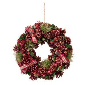 Festive Red Pinecone Wreath - 30cm