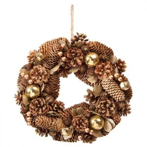 Festive Gold Balls and Berries Pinecone Wreath - 30cm