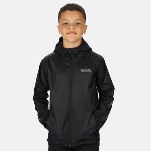 Regatta Children's Lightweight Waterproof Hooded Packaway Walking Jacket - Black