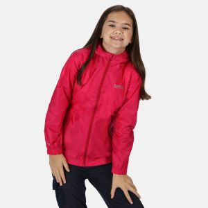 Regatta Children's Lightweight Waterproof Hooded Packaway Walking Jacket - Cabaret