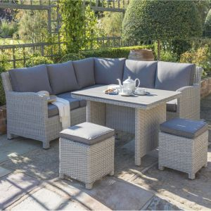 Kettler Palma Mini 7 Seater Corner Set with Polywood Table Top - Whitewash