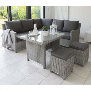 Kettler Palma Mini 7 Seater Corner Set with Glass Table Top - Whitewash