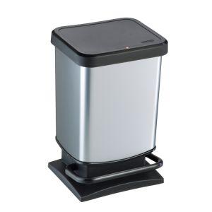 Rotho Paso Pedal Bin, 20 Litre - Silver Metallic