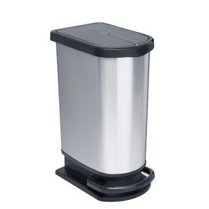 Rotho Paso Pedal Bin, 50 Litre - Silver Metallic