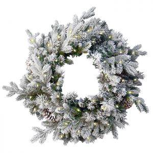 National Tree Pre-Lit Snowy Dorchester Pine Wreath – 60cm
