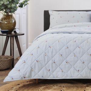 Deyong Pheasants & Polka Dots Bedspread, Grey