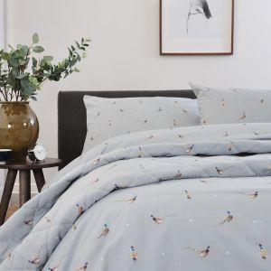 Deyong Pheasants & Polka Dots Duvet Set, Grey