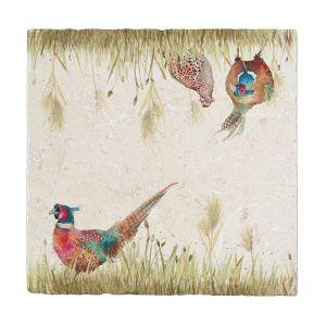 Kate of Kensington Large Marble Platter - Pheasant in Grass
