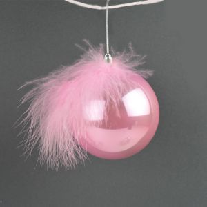 Feather Bauble, 8cm - Pink/Pearl