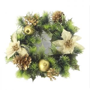 Poinsettia & Pinecone Wreath, Gold – 30cm
