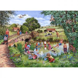 House Of Puzzles The Oakridge Collection MC535 Pond Dippers Jigsaw Puzzle - 1000 Piece