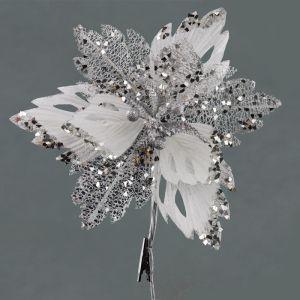 Velvet and Glitter Poinsettia - Silver, 30cm