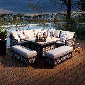 Bramblecrest Portofino 8 Seater Square Corner Sofa Dining Set with Fire Pit & Two Benches
