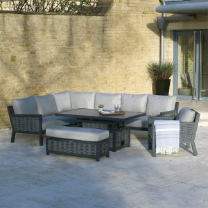 Bramblecrest Portofino 8 Seater Rectangular Corner Sofa Dining Set with Adjustable Table, Bench & Armchair