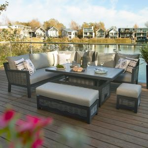Bramblecrest Portofino 8 Seater Rectangular Corner Sofa Dining Set with Adjustable Table, Bench & Stool