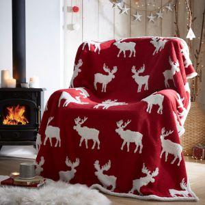 Portfolio Sherpa Fleece Throw – Moose Red