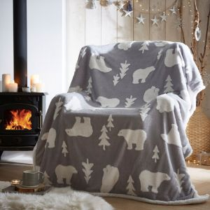 Portfolio Sherpa Fleece Throw – Polar Bear Grey