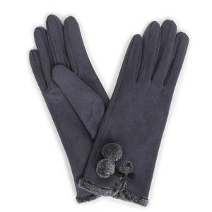 Powder Designs Amelia Faux Suede Gloves - Charcoal