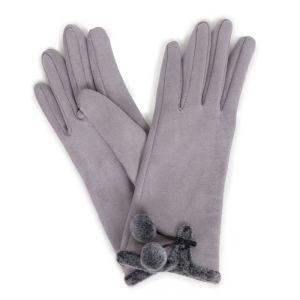 Powder Designs Amelia Faux Suede Gloves - Pale Grey