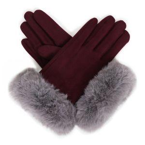 Powder Designs Bettina Faux Suede Gloves - Damson / Slate