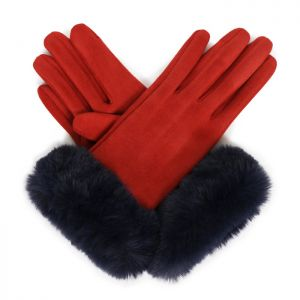 Powder Designs Bettina Faux Suede Gloves - Rust / Navy