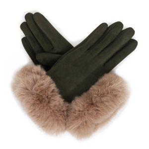 Powder Designs Bettina Faux Suede Gloves - Sage / Stone