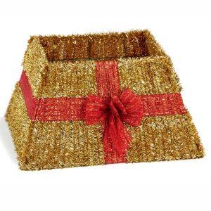 Premier Red Ribbon Tinsel Tree Skirt - Gold