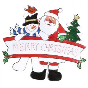 Premier Merry Christmas Window Sticker - Santa and Snowman
