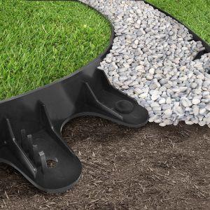 Primeur Recycled Rubber EZ Border Landscape Edge & Spikes, Black – 1m