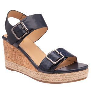 Lotus Women's Primrose Open Toe Wedge Sandals - Navy